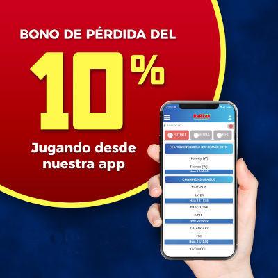Bono 10% perdida jugando desde la app.